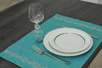 Set de table 35x50 turquoise-gris