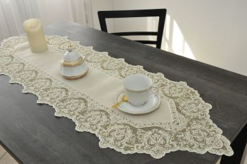 Chemin de table brodé 40x119 lin tulle