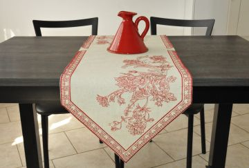 Chemin de table brodé lin 38x130  broderie rouge